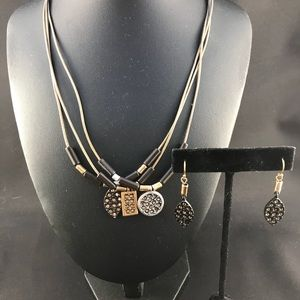 Leather cord necklace with charms and earrings